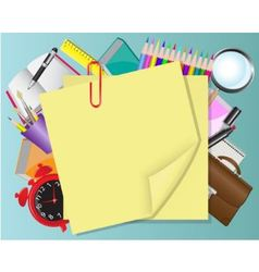 yellow paper and school objects vector image
