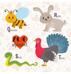 Zoo alphabet with funny animals Q r s t letters vector image