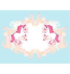 Abstract vintage horses logo vector