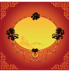 Chinese decorative background with frame vector image vector image