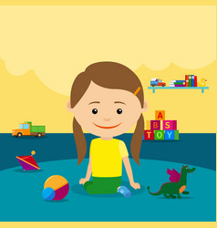 girl sitting on floor with toys vector image vector image