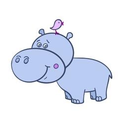 Hippo with a bird-01 vector image