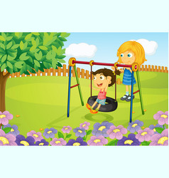 Kids playing swing in garden vector image vector image