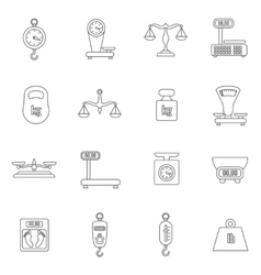 Linear scales and weight icons set vector