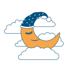 moon half caricature with sleeping cap into the vector image