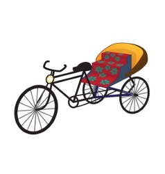 Oriental tricycle rickshaw cab vector