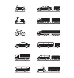 Road vehicles icon set vector image vector image