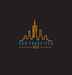 san francisco skyline with beer bottles design vector image vector image