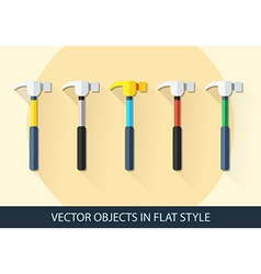 Set of hammer in a flat style with shadow vector image vector image