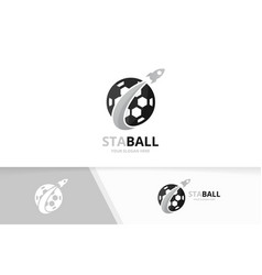 soccer and rocket logo combination ball vector image vector image