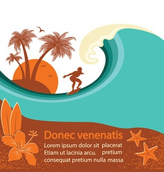 Surfer and sea wave tropical island vector image vector image