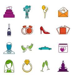 wedding icons doodle set vector image