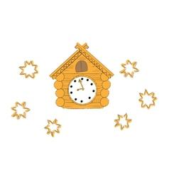 wooden cuckoo clock vector image