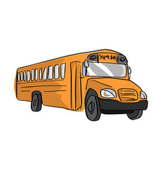 yellow school bus sketch hand drawn vector image