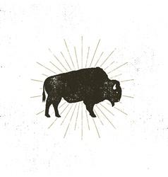 bison icon silhouette Retro letterpress effect vector image