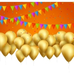 festive card golden balloons and confetti vector image vector image