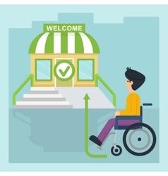 health care man in wheelchair go vector image