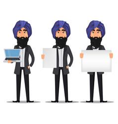 indian business man cartoon set vector image