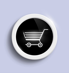round button with a shopping trolley vector image vector image