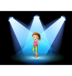 A stage with a young woman at the center vector image