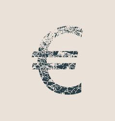 euro symbol grunge style icon vector image vector image
