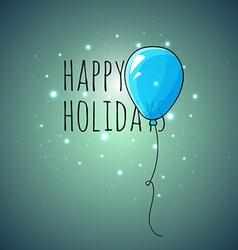 Festive card with blue balloons Departing spheres vector image vector image