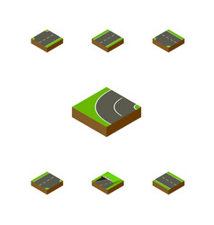 Isometric way set of down driveway single-lane vector