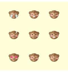 minimalistic flat monkey emotions icon set vector image vector image