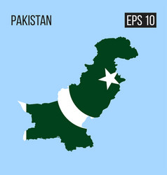 pakistan map border with flag eps10 vector image