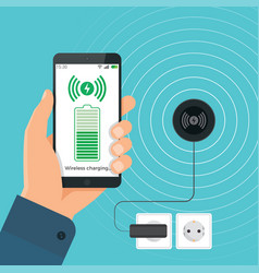 the process of wireless charging a smartphone vector image vector image