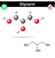 Glycerol chemical formula and 3d model vector