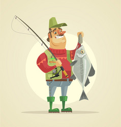 happy fisherman character hold big fish vector image