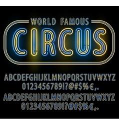 Neon font set vector image