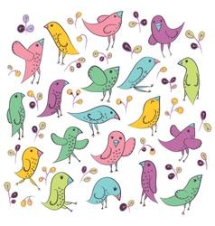 Set of cute birds vector image