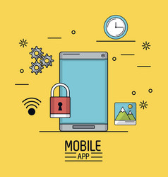 yellow background poster of mobile app with vector image vector image