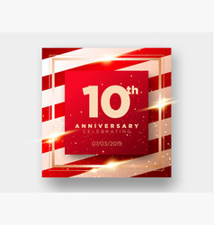 10 years anniversary celebration card 10th vector
