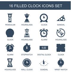 16 clock icons vector