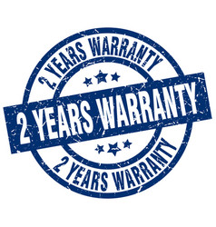 2 years warranty blue round grunge stamp vector
