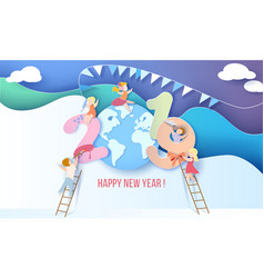 2019 happy new year design card with kids vector image