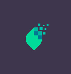 Abstract pixel leaf logo icon design modern vector