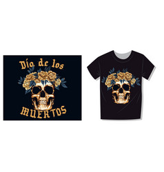 Aesthetic t-shirt print metal skull with floral vector