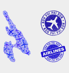 Airlines mosaic koh phi don map and grunge vector