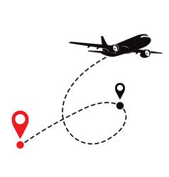 airplane fligth route or air plane destination vector image