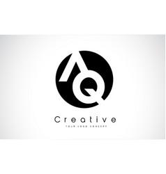 Aq letter logo design inside a black circle vector