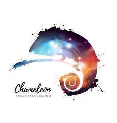 artistic silhouette animal chameleon vector image