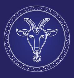 astrology card capricorn zodiac symbol vector image
