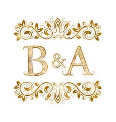 Ba vintage initials logo symbol letters b vector