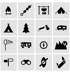 black camping icon set vector image