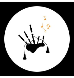 Black isolated simple bagpipes musical instrument vector