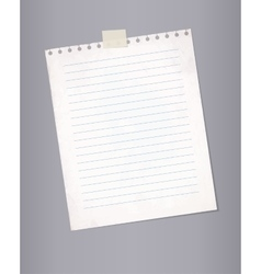 Blank lined paper from a notepad vector image